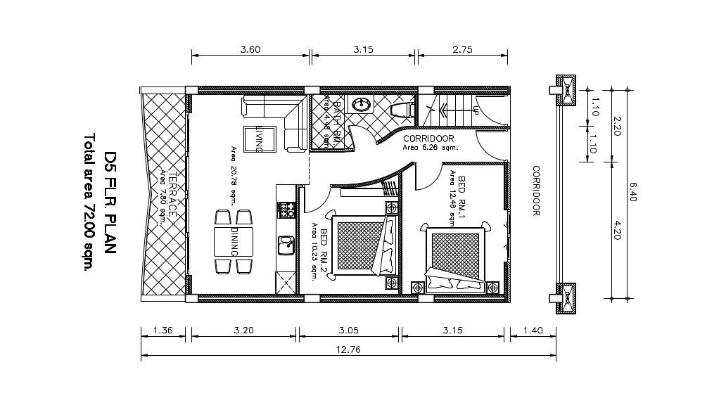 Kata Sea View Apartement D05 Plan